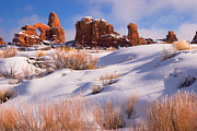Cold Morning Sun Framed Prints - Arches National Park Framed Print by Utah Images