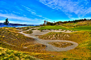 Us Open Framed Prints - #3 at Chambers Bay Golf Course - Location of the 2015 U.S. Open Championship Framed Print by David Patterson