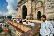 Gateway Paintings - At the Gateway of India by George Atsametakis