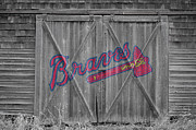 Baseball Bat Posters - Atlanta Braves Poster by Joe Hamilton