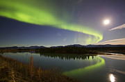 Aurora Borealis And Full Moon Print by Joseph Bradley