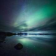Mirroring Art - Aurora borealis Northern lights over glacial lagoon in Iceland by Matteo Colombo