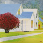 Cityscapes Painting Originals - Autumn in Small Town America by Christine Belt