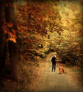 Dog Walking Digital Art Prints - Autumn Stroll Print by Jessica Jenney