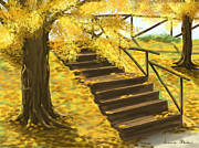 Yellow Digital Art - Autumn by Veronica Minozzi