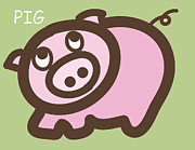 Twins Digital Art Prints - Baby Pig Art for the nursery Print by Nursery Art