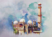 Expressionism Painting Originals - Badshahi Mosque by Catf