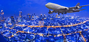 Blue Airplane Photos - Bangkok city night view by Anek Suwannaphoom