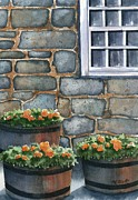 Stone Cottage Paintings - 3 Barrels by Marsha Elliott