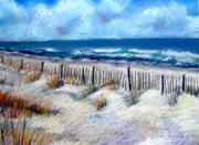Sea Shore Pastels Framed Prints - Beach Fence Framed Print by Lenore Gaudet