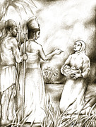 Religious Drawings Metal Prints - Biblical Illustration Metal Print by Alex Tavshunsky
