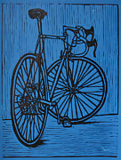 Linocut Metal Prints - Bike 4 Metal Print by William Cauthern