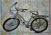 Lino Print Prints - Bike 5 Print by William Cauthern