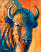 Bison Prints - Blue Buffalo Print by Theresa Paden