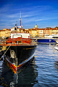 Anchored Prints - Boats at St.Tropez Print by Elena Elisseeva