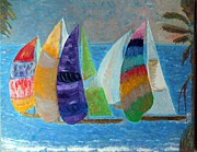 Ocean Reliefs Posters - Boats at Sunset 1 Poster by Vicky Tarcau
