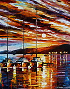 Yacht Painting Originals - 3 Borthers by Leonid Afremov