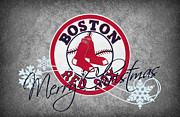 Snow Greeting Cards Posters - Boston Red Sox Poster by Joe Hamilton