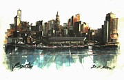 City Streets Drawings - Boston Skyline by Diane Strain