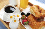 Hotel-room Photo Prints - Breakfast  Print by Elena Elisseeva