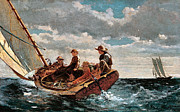 Sailboat Ocean Digital Art Prints - Breezing Up Print by Winslow Homer