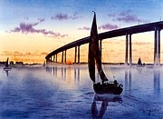 Current Framed Prints - Bridge At Sunset Framed Print by John Yato