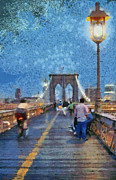 Brooklyn Bridge Painting Prints - Brooklyn bridge promenade Print by George Atsametakis