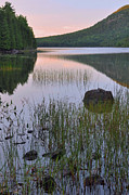 Down East Maine Prints - Bubble Pond Dawn Reflections Print by Stephen  Vecchiotti