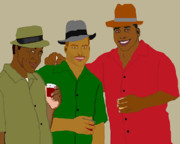 African American Men Paintings - 3 Buds by Pharris Art