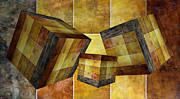 Geometric Shapes Mixed Media Posters - 3 By 3 Gold Cubed Poster by Angelina Vick