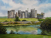Building Painting Originals - Caerphilly Castle  by Andrew Read
