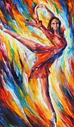 Dancer Paintings - Candle Fire by Leonid Afremov