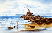 Beach Scene Painting Originals - Carefree Days Of Youth by John YATO