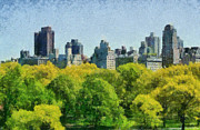 Central Park Paintings - Central Park in New York by George Atsametakis