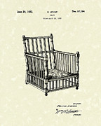 Chair Drawings Prints - Chair 1932 Patent Art Print by Prior Art Design
