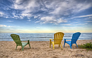 Beach Chairs Posters - 3 Chairs Poster by Scott Norris
