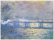 Charing Cross Framed Prints - Charing Cross Bridge Framed Print by Claude Monet