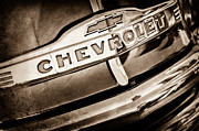 Chevy Pickup Photo Prints - Chevrolet Pickup Truck Grille Emblem Print by Jill Reger