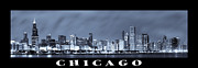 John Willis Willis Posters - Chicago Skyline at Night Poster by Sebastian Musial