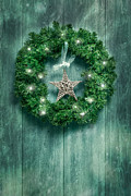 Entrance Door Posters - Christmas Garland Poster by Christopher and Amanda Elwell