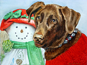 Chocolate Lab Prints - Christmas Print by Irina Sztukowski