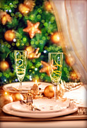 Champagne Glasses Framed Prints - Christmas table setting Framed Print by Anna Omelchenko