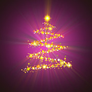 Purple Digital Art Originals - Christmas Tree by Atiketta Sangasaeng