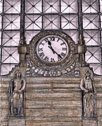 D.c. Drawings Framed Prints - Clock at Union Station Washington D.C. Framed Print by Gerald Blaikie