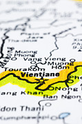 close up of vientiane on map-Laos Print by Tuimages