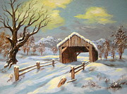 Winter Scenes Rural Scenes Framed Prints - Closed  Road  Framed Print by Shasta Eone