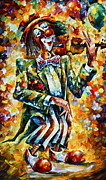 Clown Paintings - Clown by Leonid Afremov