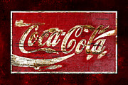 Closeup Coke Sign Prints - Coca Cola Sign Cracked Paint Print by John Stephens