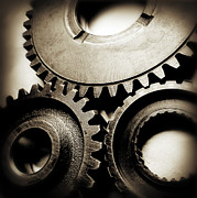 Mechanics Photo Prints - Cogs Print by Les Cunliffe