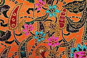 White Tapestries - Textiles Posters - Colorful batik cloth fabric background  Poster by Prakasit Khuansuwan